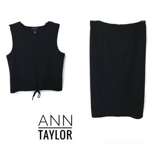 Ann Taylor 2 Piece Black Top With Skirt Outfit